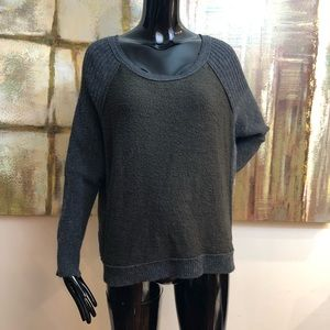 Free People 3/4 Sleeves Sweater Brown Gray Small